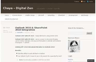 http://chayadigital.wordpress.com/2010/08/04/outlook-2010-sharepoint-2010-integration/