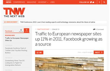http://thenextweb.com/facebook/2011/08/18/traffic-to-european-newspaper-sites-up-11-in-2011-facebook-growing-as-a-source/