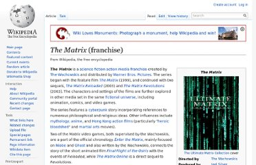http://en.wikipedia.org/wiki/The_Matrix_(franchise)