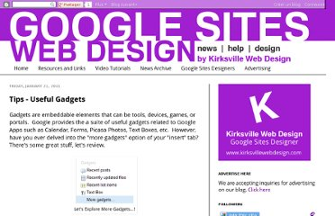 http://www.googlesiteswebdesign.com/2011/01/tips-useful-gadgets.html