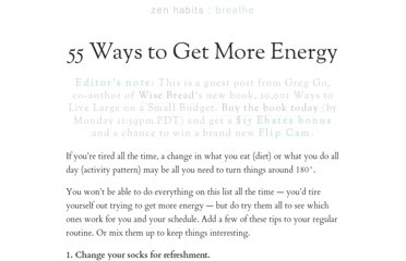http://zenhabits.net/55-ways-to-get-more-energy/
