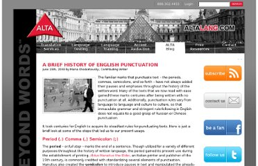 http://www.altalang.com/beyond-words/2009/06/15/a-brief-history-of-english-punctuation/