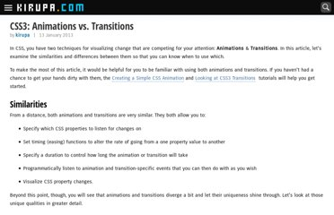 http://www.kirupa.com/html5/css3_animations_vs_transitions.htm