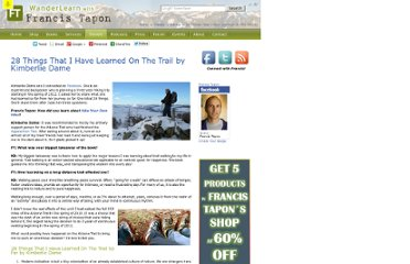 http://francistapon.com/Travels/Advice/28-Things-That-I-Have-Learned-On-The-Trail-by-Kimberlie-Dame