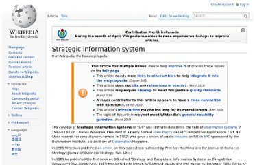 http://en.wikipedia.org/wiki/Strategic_information_system
