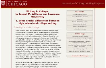 http://writing-program.uchicago.edu/resources/collegewriting/high_school_v_college.htm