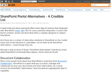 http://www.cmswire.com/cms/enterprise-cms/sharepoint-portal-alternatives-a-credible-list-005080.php