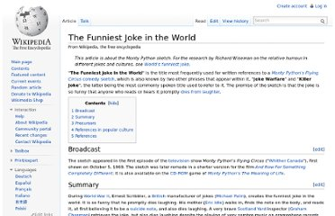 http://en.wikipedia.org/wiki/The_Funniest_Joke_in_the_World