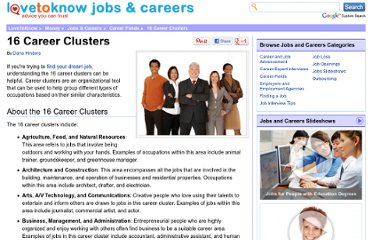 http://jobs.lovetoknow.com/16_Career_Clusters