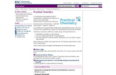 http://www.rsc.org/Education/Teachers/Resources/Practical-Chemistry/Index.asp