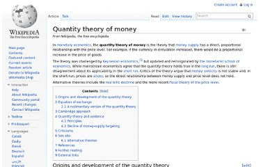 http://en.wikipedia.org/wiki/Quantity_theory_of_money