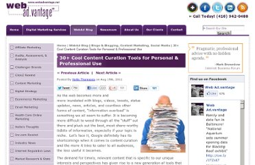 http://www.webadvantage.net/webadblog/30-plus-cool-content-curation-tools-for-personal-professional-use-3922