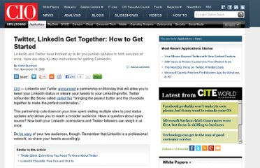 http://www.cio.com/article/507288/Twitter_LinkedIn_Get_Together_How_to_Get_Started
