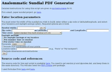 http://analemmatic.sourceforge.net/cgi-bin/sundial.pl