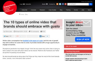 http://econsultancy.com/blog/7397-the-10-types-of-online-video-that-brands-should-embrace-with-gusto