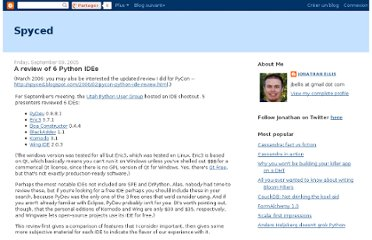 http://spyced.blogspot.com/2005/09/review-of-6-python-ides.html