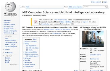 http://en.wikipedia.org/wiki/MIT_Computer_Science_and_Artificial_Intelligence_Laboratory#Project_MAC