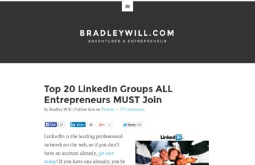 http://www.bradleywill.com/2009/06/09/top-20-linkedin-groups-all-entrepreneurs-must-join/
