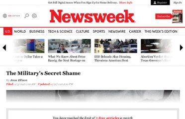 http://www.thedailybeast.com/newsweek/2011/04/03/the-military-s-secret-shame.html
