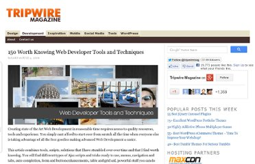 http://www.tripwiremagazine.com/2009/07/150-worth-knowing-web-developer-tools-and-techniques.html
