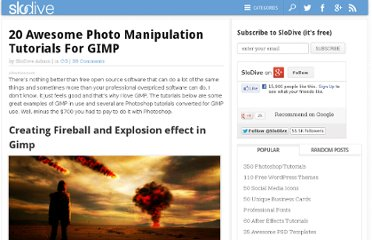 http://slodive.com/design/20-awesome-photo-manipulation-tutorials-for-gimp/