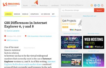 http://coding.smashingmagazine.com/2009/10/14/css-differences-in-internet-explorer-6-7-and-8/