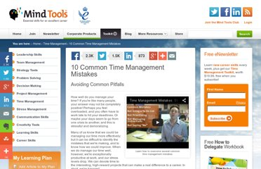 http://www.mindtools.com/pages/article/time-management-mistakes.htm