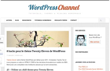 http://wpchannel.com/8-hacks-theme-twenty-eleven-wordpress/