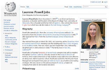 http://en.wikipedia.org/wiki/Laurene_Powell_Jobs