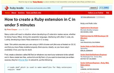 http://www.rubyinside.com/how-to-create-a-ruby-extension-in-c-in-under-5-minutes-100.html