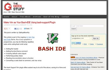 http://www.thegeekstuff.com/2009/02/make-vim-as-your-bash-ide-using-bash-support-plugin/