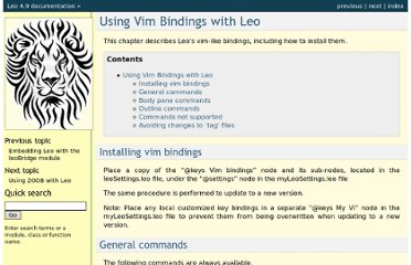 http://webpages.charter.net/edreamleo/vimBindings.html#general-commands