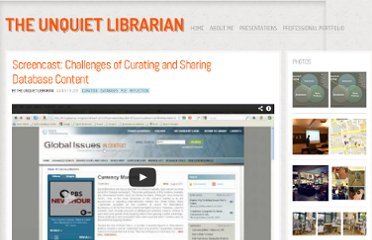 http://theunquietlibrarian.wordpress.com/2011/08/09/screencast-challenges-of-curating-and-sharing-database-content/