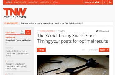 http://thenextweb.com/socialmedia/2011/08/22/the-social-timing-sweet-spot-timing-your-posts-for-optimal-results/