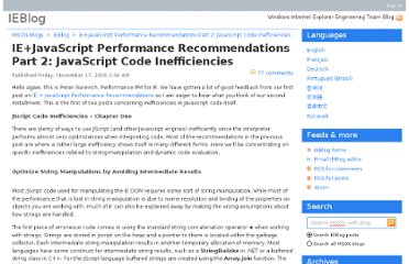 http://blogs.msdn.com/b/ie/archive/2006/11/16/ie-javascript-performance-recommendations-part-2-javascript-code-inefficiencies.aspx