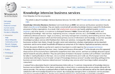 http://en.wikipedia.org/wiki/Knowledge_intensive_business_services