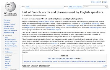 http://en.wikipedia.org/wiki/List_of_French_words_and_phrases_used_by_English_speakers