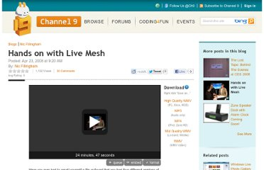 http://channel9.msdn.com/Blogs/NicFill/Hands-on-with-Live-Mesh