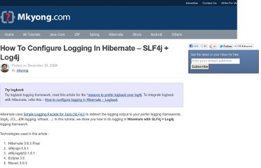 http://www.mkyong.com/hibernate/how-to-configure-log4j-in-hibernate-project/