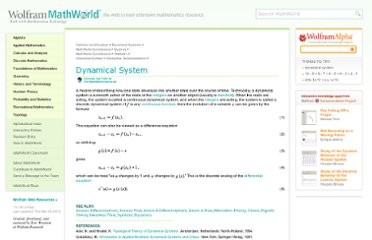 http://mathworld.wolfram.com/DynamicalSystem.html