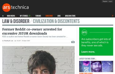 http://arstechnica.com/tech-policy/news/2011/07/reddit-founder-arrested-for-excessive-jstor-downloads.ars