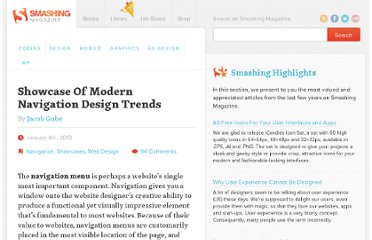 http://www.smashingmagazine.com/2010/01/04/showcase-of-modern-navigation-design-trends/