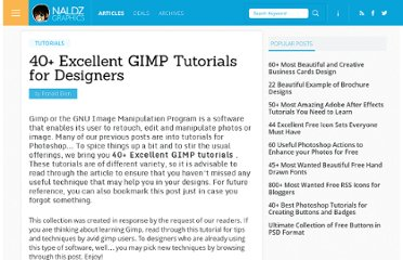 http://naldzgraphics.net/tutorials/40-excellent-gimp-tutorials-for-designers/