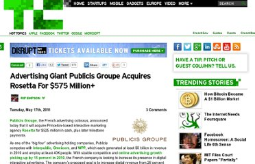 http://techcrunch.com/2011/05/17/advertising-giant-publicis-groupe-acquires-rosetta-for-575-million/
