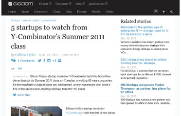 http://gigaom.com/2011/08/23/5-startups-to-watch-y-combinator-summer-2011-class/
