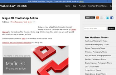 http://vandelaydesign.com/blog/tools/magic-3d-photoshop-action/