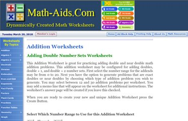 http://www.math-aids.com/Addition/Addition_Doubles.html