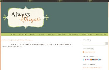 http://alwayschrysti.com/always-chrysti/2009/2/11/my-lil-studio-organizing-tips-a-video-tour.html