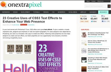 http://www.onextrapixel.com/2011/08/24/23-creative-uses-of-css3-text-effects-to-enhance-your-web-presence/