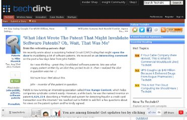 http://www.techdirt.com/articles/20110822/13094215621/what-idiot-wrote-patent-that-might-invalidate-software-patents-oh-wait-that-was-me.shtml